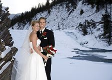 bride & groom Bow Falls